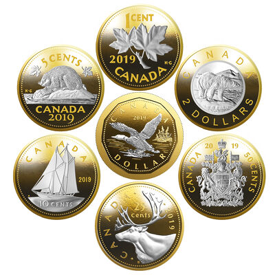 2019 5-Ounce Big Coin Series - Pure Silver 7 Coin Set + Display Case