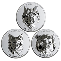 2019 $25 Multifaceted Animal Heads - Pure Silver 3-Coin Subscription Series