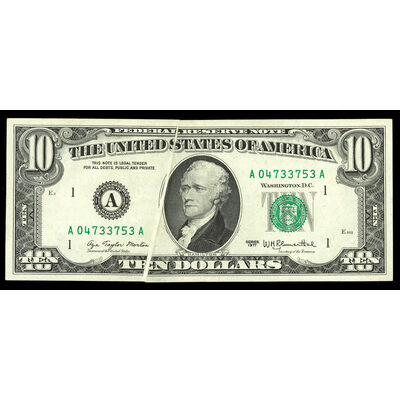 US $10 Federal Reserve Note 1977 Morton-Blumenthal Printing Error Boston Non-Certified AU-50