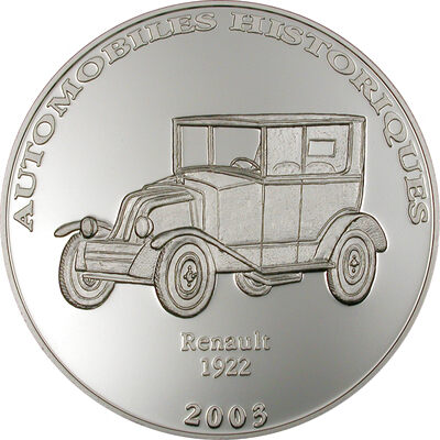 2003 10 Francs Historical Cars III: 1922 Renault (Congo) - Pure Silver Coin