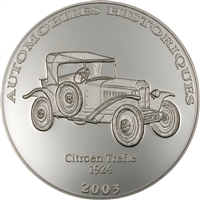 2003 10 Francs Historical Cars III: 1924 Citroen Trefle (Congo) - Pure Silver Coin