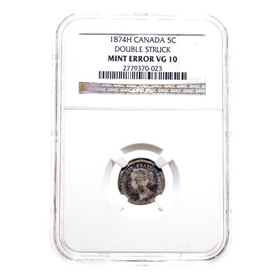 5 cent 1874H Mint Error NGC VG-10