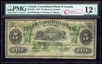 The Consolidated Bank of Canada $5 1876  PMG F-12