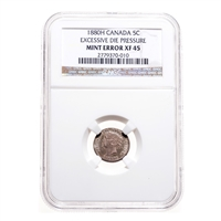 5 cent 1880H Mint Error NGC EF-45