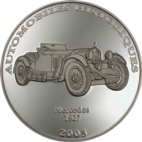 2003 10 Francs Historical Cars IV: 1927 Mercedes (Congo) - Pure Silver Coin