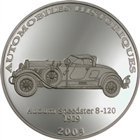 2003 10 Francs Historical Cars IV: 1929 Auburn Speedster 8-120 (Congo) - Pure Silver Coin