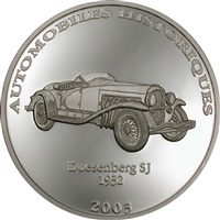 2003 10 Francs Historical Cars IV: 1932 Duesenberg SJ (Congo) - Pure Silver Coin