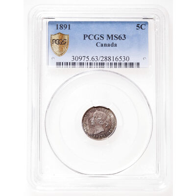 5 cent 1891 Obv 5 PCGS MS-63