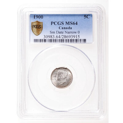 5 cent 1900 Sm Date Oval O PCGS MS-64