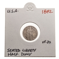 US Half Dime 1842  Liberty Seated Half Dime VF-20