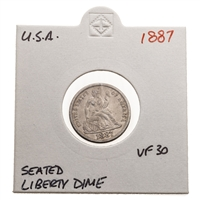 US 10C 1887 Liberty Seated Dime VF-30