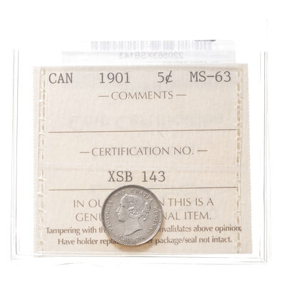 5 cent 1901  ICCS MS-63