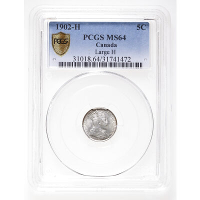 5 cent 1902H Large H PCGS MS-64