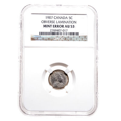 5 cent 1907 Mint Error NGC AU-53