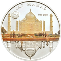2008 500 Togrog The New 7 Wonders: Taj Mahal (Mongolia) - Sterling Silver Coin
