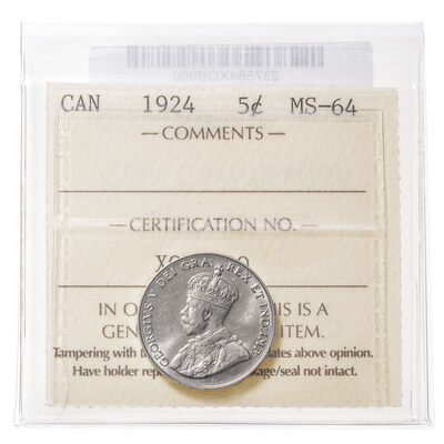 5 cent 1924  ICCS MS-64