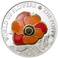 2009 $5 World of Flowers: The Poppy (Cook Islands) - Pure Silver Coin