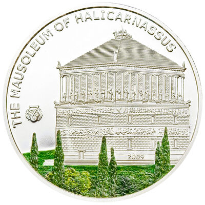 2009 $5 Antique 7 Wonders of the World: The Mausoleum of Halicarna (Palau) - Sterling Silver Coin