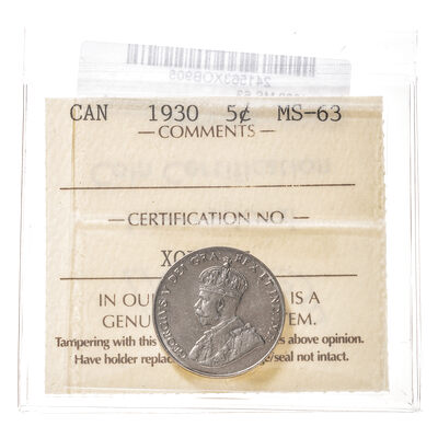 5 cent 1930  ICCS MS-63