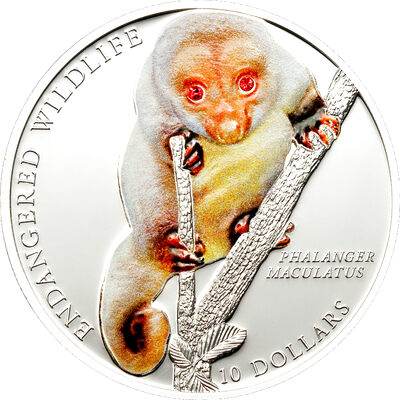 2010 $10 Common Spotted Cuscus (Solomon Islands) - Sterling Silver Coin