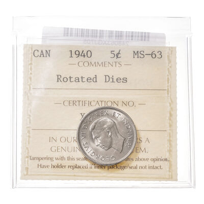 5 cent 1940 Rotated Dies ICCS MS-63