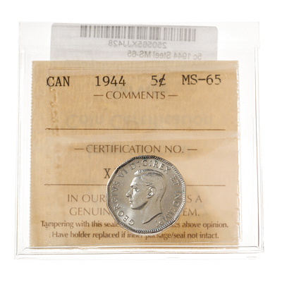 5 cent 1944 Steel ICCS MS-65