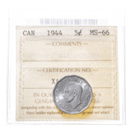 5 cent 1944 Steel ICCS MS-66