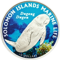 2011 $10 Dugong Dugon (Solomon Islands) - Sterling Silver Coin