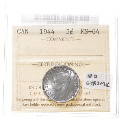 5 cent 1944 Missing Chrome ICCS MS-64