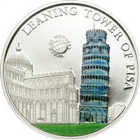 2011 $5 World of Wonders II: Leaning Tower of Pisa (Palau) - Sterling Silver Coin