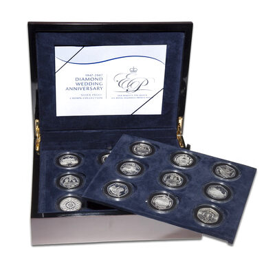 Alderney 2007 18 Coin Set - Diamond Wedding Anniversary Silver Proof Crown Collection