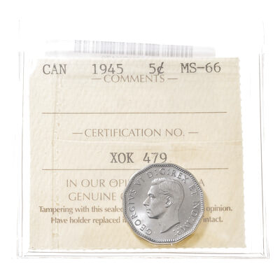 5 cent 1945 Steel ICCS MS-66