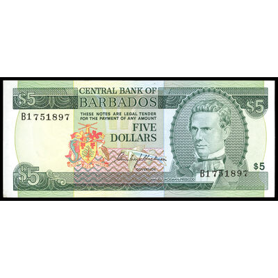Barbados 5 Dollars 1973 Issued note. UNC-60