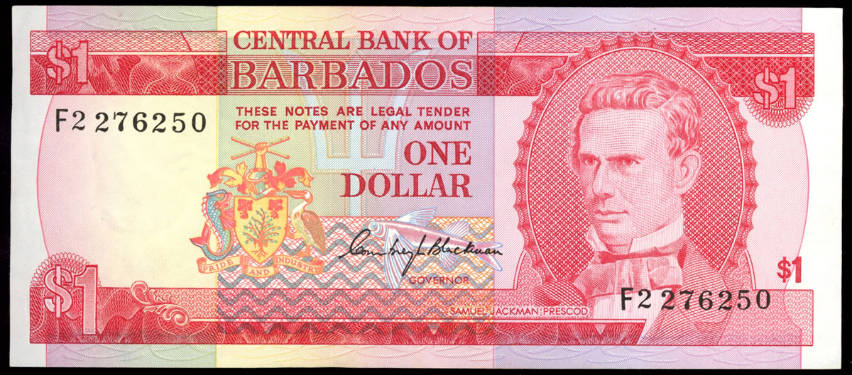 Barbados 1 Dollar 1973 Issued note  UNC-60