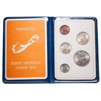 Bermuda 1970 50 Cents Unc Set - First Decimal Coin Set