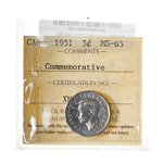 5 cent 1951 Commemorative ICCS MS-65