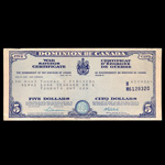 Canada 1943 -  5 Dollars War Saving Certificate Dominion of Canada, dated 15-4-43 Thomas C Ferguson