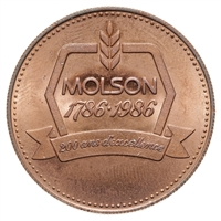 Canada 1986 -  Molson Brewery Token 200 years and counting MS-63