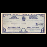 Canada 1943 -  5 Dollars War Saving Certificate Dominion of Canada, dated 15-5-43 Leonard Le Blanc