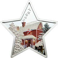 2012 $5 Merry Christmas: Snowy House (Samoa) - Pure Silver Star-Shaped Coin
