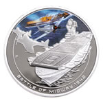 Cook Islands fine silver 2011 -  1 Dollar Elizabeth II Battle of Midway Famous Naval Battles
