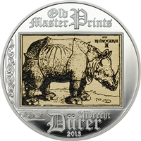 2013 $5 Albrecht D�rer: Rhinoceros (Cook Islands) - Sterling Silver Coin