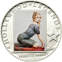 2013 $5 Hollywood Legends IV: Brigitte Bardot (Cook Islands) - Sterling Silver Coin