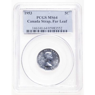 5 cent 1953 SF Far Leaf (Mule) PCGS MS-64