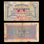Faeroe Islands 1 Krone 1940 Second Emergency Issue VG-8