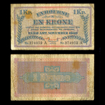 Faeroe Islands 1 Krone 1940 Second Emergency Issue F-12
