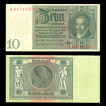 Germany 10 Reichsmark 1929 Watermark: Ornament at left without underprint VF-30