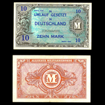 Germany 10 Mark 1944 9 digit note without F VF-30