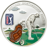 2014 $5 PGA Tour: Golf Bag (Cook Islands) - Sterling Silver Coin