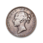Great Britain 1/2 Crown 1840 W.W. on incuse F-12